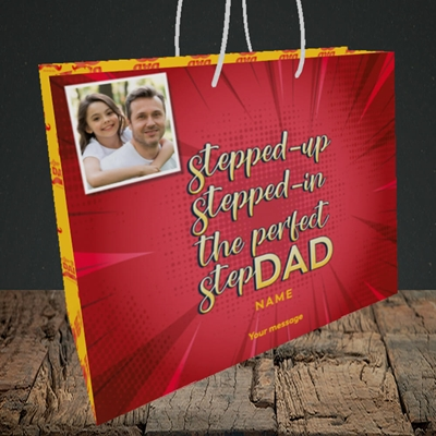 Picture of Stepped Up, Father's Day Design, Medium Landscape Gift Bag