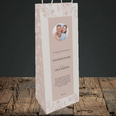 Picture of  Floral Edges Pink, Anniversary Design, Bottle Bag