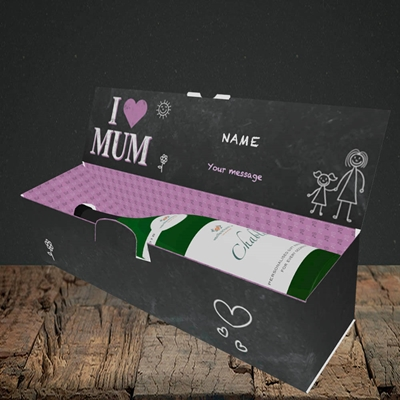 Picture of I Love Mum (Chalk Board),(Without Photo), Lay-down Bottle Box