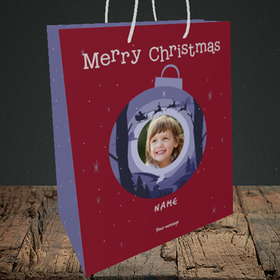 Picture of Bauble Scene, Christmas Design, Medium Portrait Gift Bag