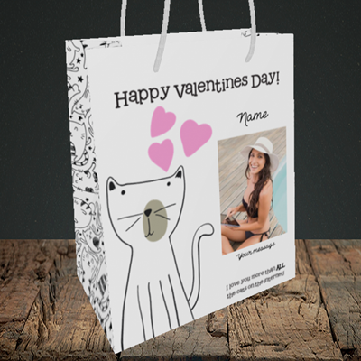 Picture of Cat, Valentine's Design, Medium Portrait Gift Bag