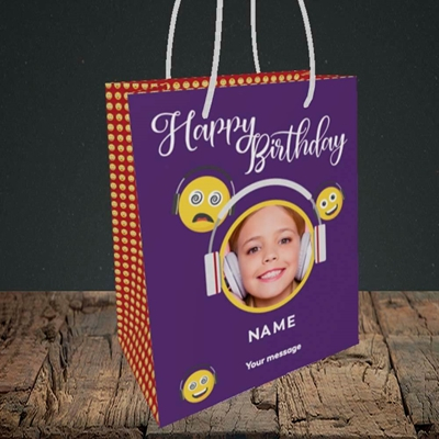Picture of Smileys, Birthday Design, Small Portrait Gift Bag