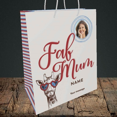 Picture of Fab Mum, Birthday Design, Medium Portrait Gift Bag