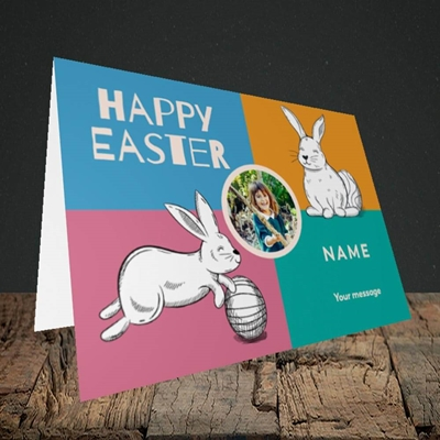 Picture of 4 Colour Bunnies, Easter Design, Landscape Greetings Card