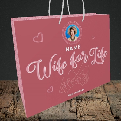 Picture of Wife For Life, Anniversary Design, Medium Landscape Gift Bag