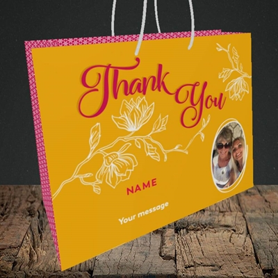 Picture of Flowers, Thank You Design, Medium Landscape Gift Bag