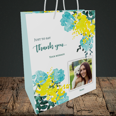 Picture of Watercolour, Thank You Design, Medium Portrait Gift Bag
