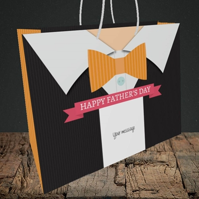 Picture of Bowtie(Without Photo), Father's Day Design, Medium Landscape Gift Bag