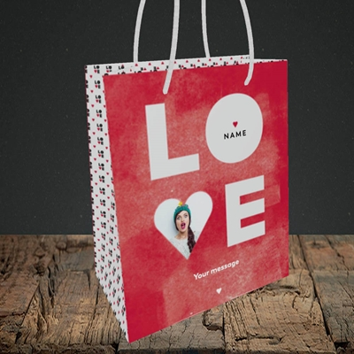 Picture of Love Type (stacked), Valentine's Design, Small Portrait Gift Bag