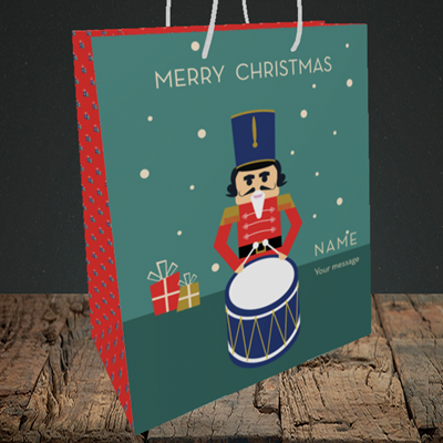 Picture of Drummer Boy(Without Photo), Christmas Design, Medium Portrait Gift Bag