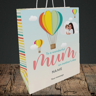 Picture of Hot Air Balloon, Mother's Day Design, Medium Portrait Gift Bag