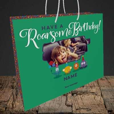 Picture of Roarsome, Birthday Design, Medium Landscape Gift Bag