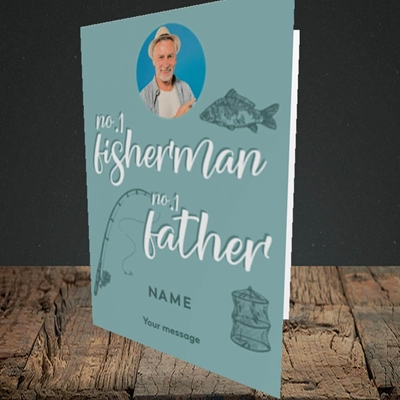 Picture of Fisherman, Father's Day Design, Portrait Greetings Card