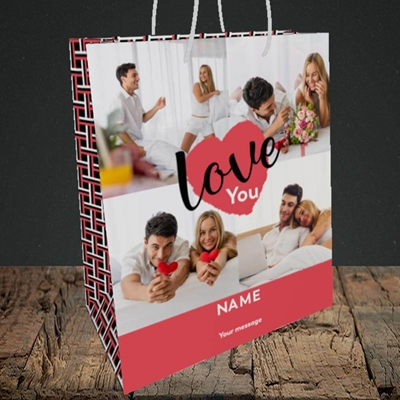 Picture of Central Heart, Valentine's Design, Medium Portrait Gift Bag