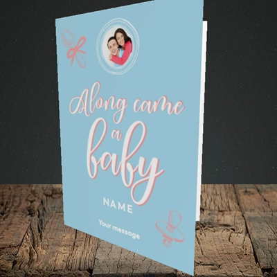 Picture of Along Came A Boy, New Baby Design, Portrait Greetings Card