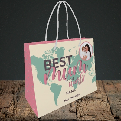 Picture of Best Mum In The World, Mother's Day Design, Small Landscape Gift Bag
