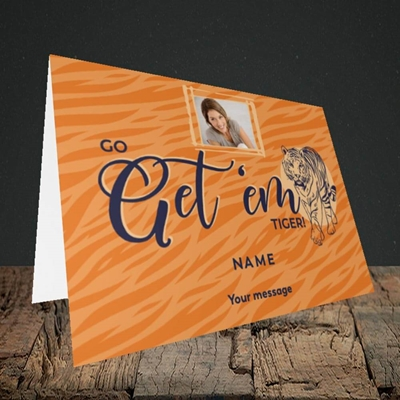 Picture of Get 'em Tiger, Good Luck Design, Landscape Greetings Card