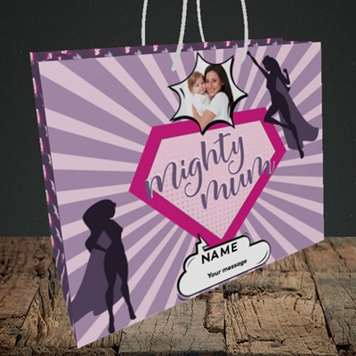 Picture of Mighty Mum, Mother's Day Design, Medium Landscape Gift Bag