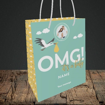 Picture of OMG! It's a Baby, New Baby Design, Small portrait Gift Bag