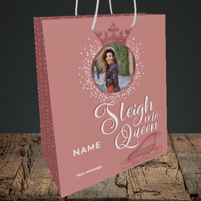Picture of Sleigh Me Queen, Christmas Design, Medium Portrait Gift Bag