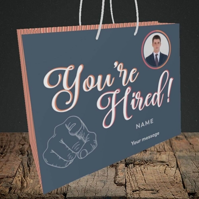 Picture of You're Hired, New Job Design, Medium Landscape Gift Bag