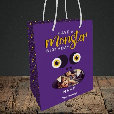 Picture of Monster Face, Birthday Design, Small Portrait Gift Bag