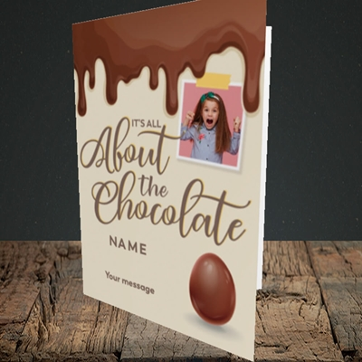 Picture of All About The Chocolate, Easter Design, Portrait Greetings Card