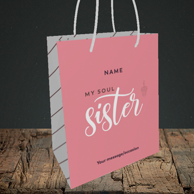 Picture of Soul Sister, (Without Photo) Birthday Design, Small Portrait Gift Bag