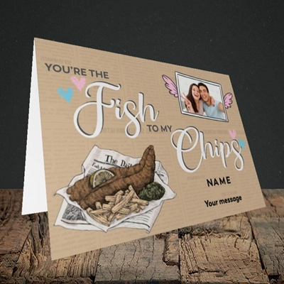 Picture of Fish To My Chips, Valentine's Design, Landscape Greetings Card
