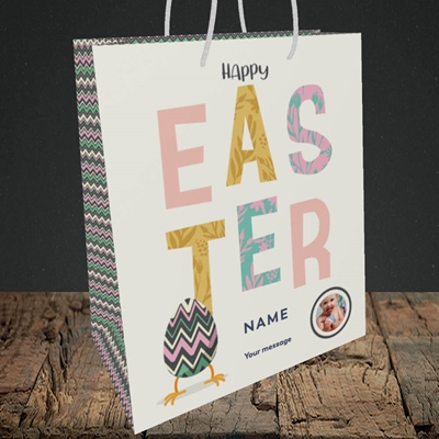 Picture of Happy Walking Egg, Easter Design, Medium Portrait Gift Bag