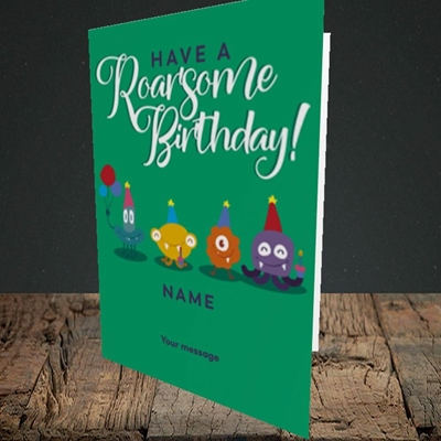 Picture of Roarsome(Without Photo), Birthday Design, Portrait Greetings Card