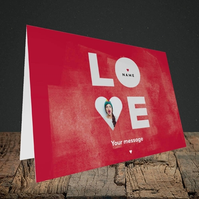 Picture of Love Type (stacked), Valentine's Design, Landscape Greetings Card