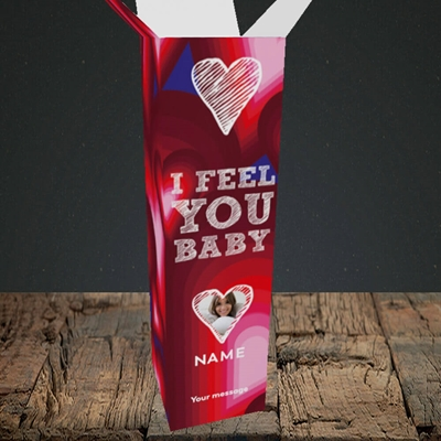 Picture of I Feel You Baby, Valentine's Design, Upright Bottle Box