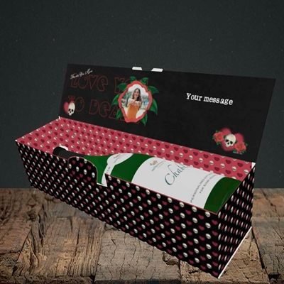 Picture of Love You To Death, Valentine's Design, Lay-down Bottle Box