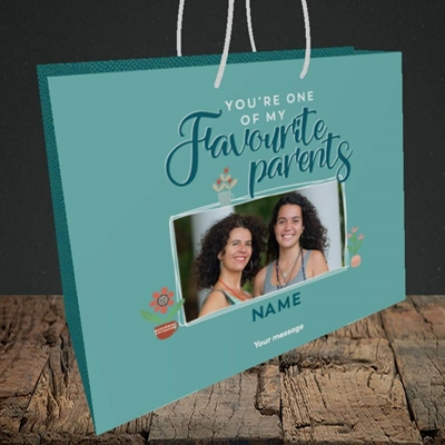 Picture of Favourite Parents, Mother's Day Design, Medium Landscape Gift Bag