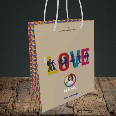 Picture of Let's Love Let's Dance, Valentine's Design, Small Portrait Gift Bag