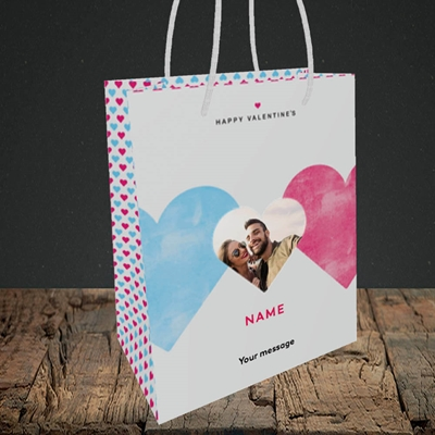 Picture of Joined Hearts (textured), Valentine's Design, Small Portrait Gift Bag