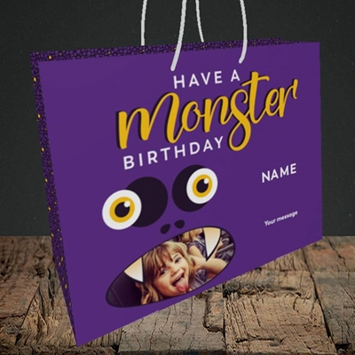 Picture of Monster Face, Birthday Design, Medium Landscape Gift Bag