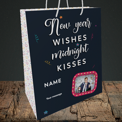 Picture of Midnight Kisses, New Year Design, Medium Portrait Gift Bag