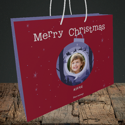 Picture of Bauble Scene, Christmas Design, Medium Landscape Gift Bag