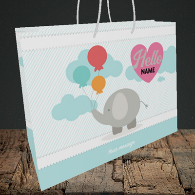 Picture of Elephant, New Baby Design, Medium Landscape Gift Bag