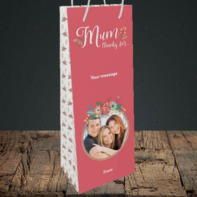 Picture of Mum Thanks For..., Mother's Day Design, Bottle Bag