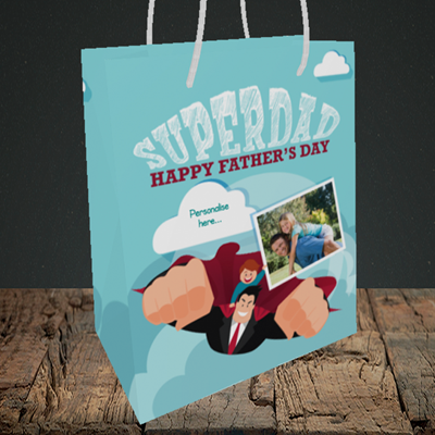 Picture of Superdad, Father's Day Design, Medium Portrait Gift Bag