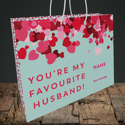 Picture of Favourite Husband(Without Photo), Valentine's Design, Medium Landscape Gift Bag