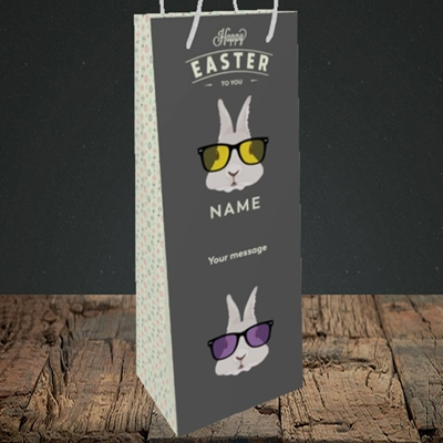 Picture of Hipster Bunnies(Without Photo), Easter Design, Bottle Bag
