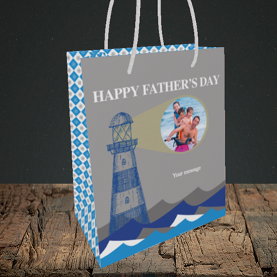 Picture of Lighthouse, Father's Day Design, Small Portrait Gift Bag