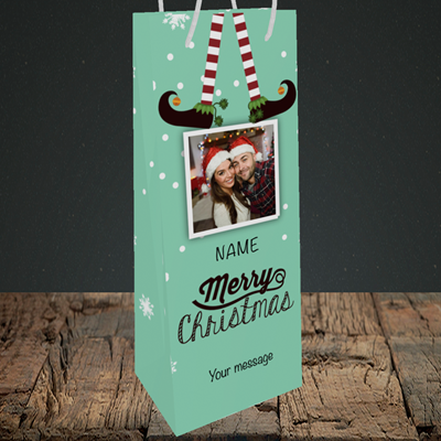 Picture of Elf, Christmas Design, Bottle Bag