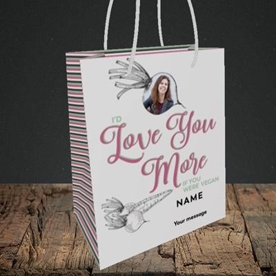 Picture of If You Were Vegan, Valentine's Design, Small Portrait Gift Bag