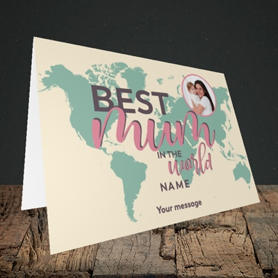Picture of Best Mum In The World, Mother's Day Design, Landscape Greetings Card