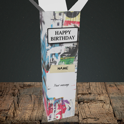 Picture of Graffiti, (Without Photo) Birthday Design, Upright Bottle Box